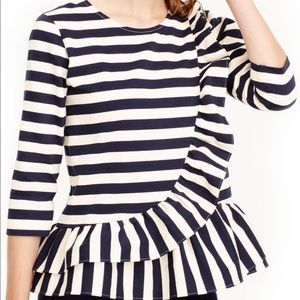 J. Crew Asymmetrical Striped Ruffle Top Size Large